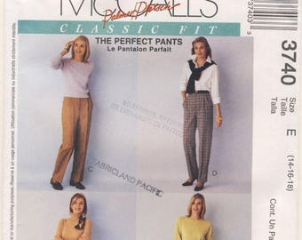 McCall's 3740 Classics Fit - The Perfect Pants Misses Multi size 14 - 16 - 18