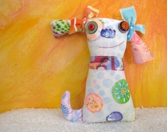 Unique Dog Art Doll, OOAK Original Design, Textile Mixed Media Art Doll, Colorful Hand painted printed fabrics, Puppy Dog Lover gift, Funky
