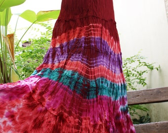 ARIEL on Earth - Boho Gypsy Long Tiered Ruffle Patchwork Tie Dyed Cotton Skirt - TD1706-07