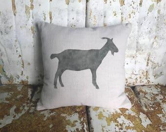 Farm GOAT Pillow / Square Cotton Farmhouse Style Vintage Printed Throw Pillow / Farmhouse Cottage Rustic Home Decor
