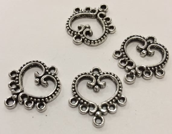Open Heart Antique Silver 5 Strand Spacer End Connector 10 pieces