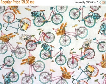 ON SALE Charming Tossed Bicycles Print Pure Cotton Fabric--By the Yard