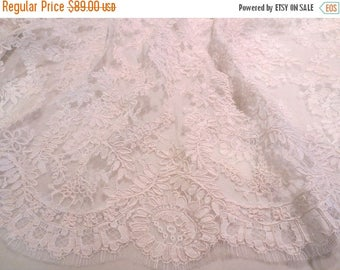ON SALE Diamond White Intricate French Alencon Lace Fabric--One Yard