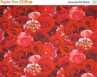 ON SALE Shades of Red Packed Roses and Carnations Digital Print Pure Cotton Fabric--By the Yard