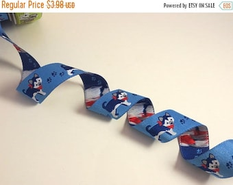 ON SALE Shades of Blue Cutest Little Husky Dog Design Polyester Jacquard Ribbon--By the Yard