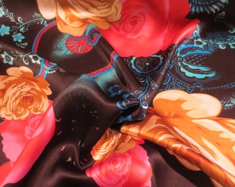 Stunning Red and Golden Beige on Black Large  Floral Print Pure Silk Charmeuse Fabric--By the Yard