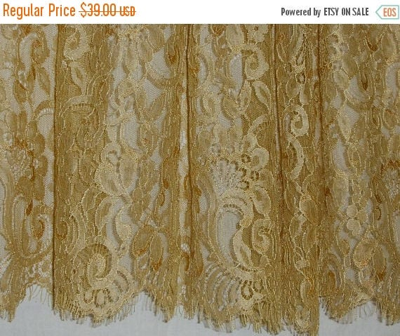ON SALE Gold Color Silky Leavers Chantilly Lace Fabric--One Yard