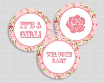 Pink Cupcake Toppers, Shabby Chic Baby Girl Shower, Pink Rose Burlap, It's a Girl, Welcome Baby, DIY Printable, INSTANT DOWNLOAD