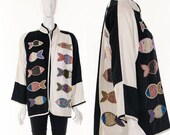 MOVINGSALE Avant Garde Color Block Duster Jacket Kimono Jacket Black White Graphic Art Jacket Hand Embroidered Fish Applique Asian Inspired