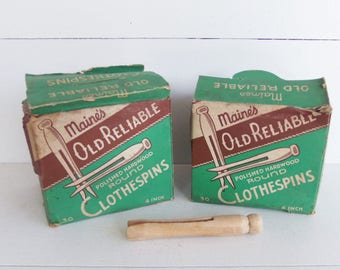 Vintage Clothespins,  Hardwood Round Clothes Pins, New Old Stock, Laundry Room Decor