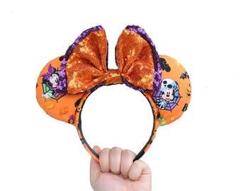 Halloween Orange Purple Trick Or Treat Mickey Mouse Ears Minnie Mouse Ears
