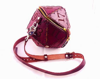 Leather D20 Purse in Dark Brown- Dice Bag, Leather Purse, Geek