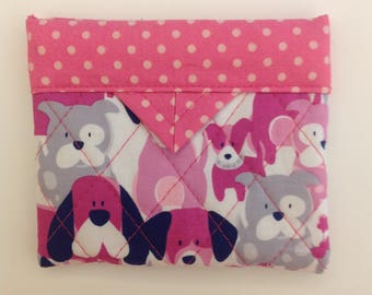 """Dogs Quilted Fabric Mini Snap Bag Purse Pouch Handbag Handmade 5"""" x 4"""""""