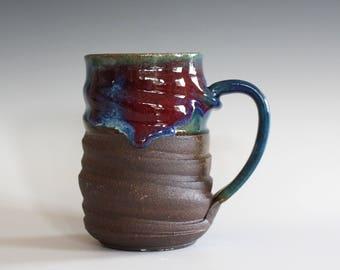 Coffee Mug Pottery, 14 oz, unique coffee mug, handmade cup, handthrown mug, stoneware mug, wheel thrown pottery mug, ceramics and pottery