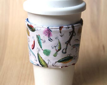 Reversible Coffee Cozy, Coffee Cup Sleeve - Fishing - Ready to Ship