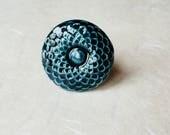 Bague Renoncule bleu profond céramique