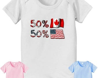 FLASH SALE short sleeve and long sleeve 50 Canadian 50 American USA baby infant  Bodysuit baby bodysuit, baby shower gift