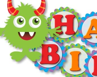 Lil Monster Birthday Banner and Party Decorations -Birthday Invitation, Birthday Banner or Baby Shower