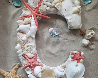 White Pearl Seashell Letter Choose ANY Colored Starfish Abalone Shells Heart Cockle Coral Aqua Bath Family Kids Room Mermaid Beach Wedding