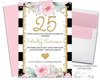FLORAL 25th Birthday Invitation, 25th Birthday Party Invitation, Milestone Birthday, Surprise Party Invitation, Black and White Striped