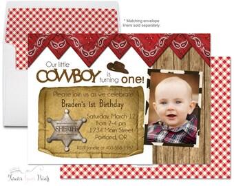 Cowboy Birthday Invitation - Cowboy Party Invitation - Boys Cowboy Invitation - Cowboy Invite - Western Birthday - Rodeo Party - Baby Boy