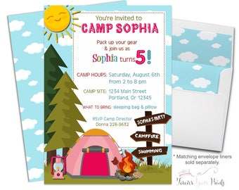 Girls Camping Party Invitation - Camping Birthday Invitation - Camping Invitation - Camping Invite - Girls Birthday Invitation - Sleepover