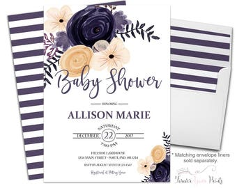 Floral Baby Shower Invitation - Girl Baby Shower Invitation - Baby Girl Shower - Baby Sprinkle - Whimsical Baby Shower - Gender Neutral