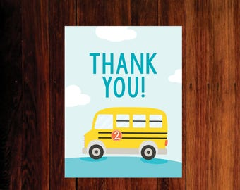 Wheels on the Bus thank you card - set of 12