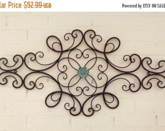 ON SALE Scrolled Wrought Iron // Shabby Chic //Wrought Iron Wall Hanging