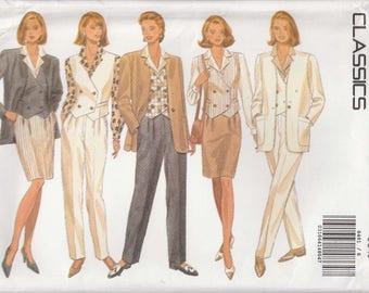 Blouse Pattern Skirt Jacket Vest Pants Wardrobe Misses Size 6 - 8 - 10 Uncut Butterick 6491