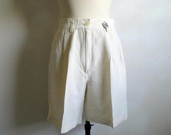 50OFF Event Vintage 1990s Benetton Shorts United Colors Cream Linen 90s Summer Shorts 46 Made in Italy