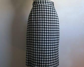 Vintage 1980s Black Check Skirt Vintage Mister Leonard Len Wasser Black White Plaid Straight Wool Skirt 14