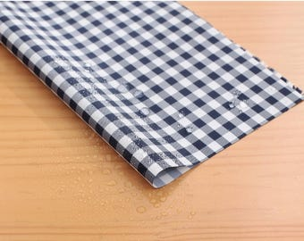 Wide Waterproof Polyester Fabric By the yard  '6 mm Navy Check ' (width 59 inches) 90345