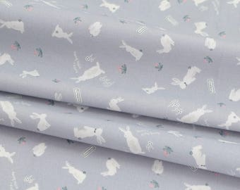 Rabbit Cotton by the yard (width 44 inches) 87112-2 Blue mixed Gray