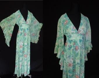 Angel Sleeve Seafoam Floral Vintage 1970's Hippie MAXI Women's Dress M