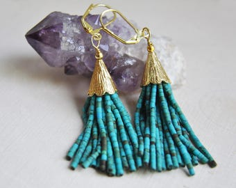 Turquoise Tassel Earrings, Tassel Earrings, Beaded Tassel Earrings, Festival Earrings, Bohemian Earrings, Boho Earrings, Long Earrings, Boho