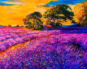 Oil Painting Original Painting Abstract Painting Abstract Art Canvas Art Large Art Wall Art Canvas Painting Large Painting Lavender field