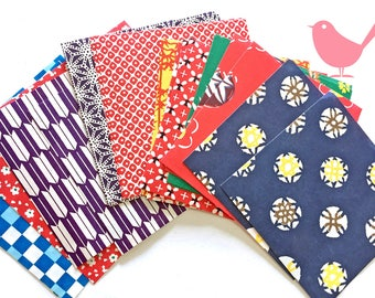 Mini Japanese rice and origami paper ephemera, paper with beautiful print set 1