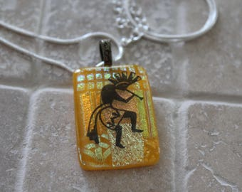 Dichroic fused glass pendant, fused glass kokopelli, kokopelli, dichroic glass, pendant, jewelry, fused glass jewelry, dichroic jewelry