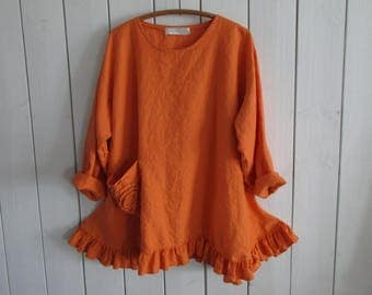 linen tunic with flower pocket in mango ready to ship