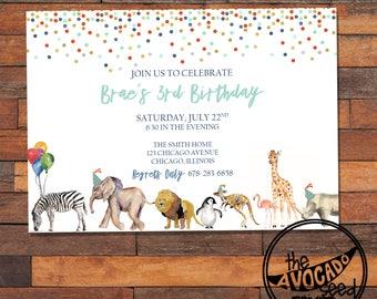 Watercolor Animal Birthday Invitation - DIY Printing or Professional Prints