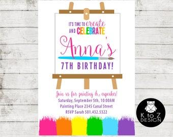 Art Birthday Party /Paint Party Invitation /Painting Party Invitation / Printable Invitation / Printed Invitations