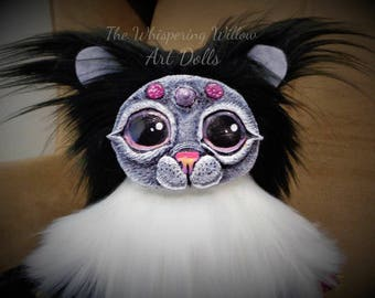OOAK Plush EXTRA FLUFFY Art Doll Black And White Fantasy Big Eyed Horn Cat