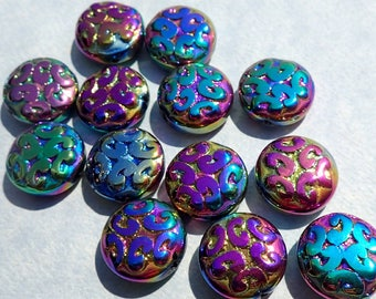Metallic Glass Beads with Carved Design - Rainbow Colors - 13mm - Set of 13 Beads - Glass Mosaic Tiles