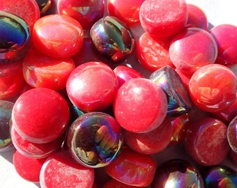 Red Mix Glass Drops Mosaic Tiles - 100 grams Vase Fillers Home Decor - Flat Marbles Mix of Gloss and Iridescent Glass Gems