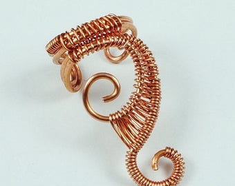SALE - Woven Swirly Ear Cuff, Copper, Gold, Red, Blue, Green, Purple and other colors