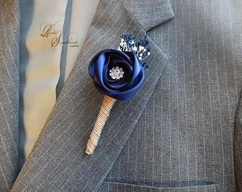 Will ship in 5 days ~ Navy Blue Satin and Sola Flower Ring Bearer Boutonniere