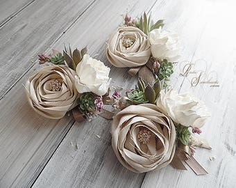 Rustic Peony Sola Flower & Artificial Succulent Wedding Corsage. Can be worn as a wrist corsage or pin on.
