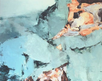 "Abstract wall art contemporary abstract art abstract landscape art aqua blue abstract ocean art ""Out to Sea"""