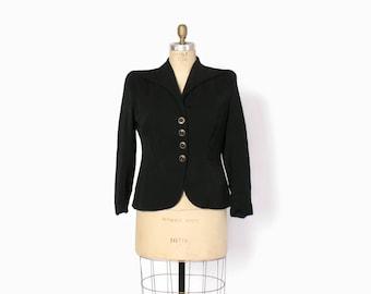 Vintage 40s Black BLAZER / 1940s Wool Gab Tailored & Fitted Suit JACKET L